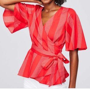 Loft Embroidered Peplum Wrap Top Blouse Medium Red